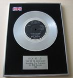 RICK ASTLEY - Take Me To Your Heart PLATINUM single presentation DISC